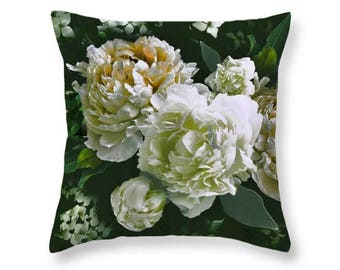 Velvet Pillow, Peony And Dogwood Throw Pillow, 22x22 Or 18x18 Inches, Soft  Velveteen