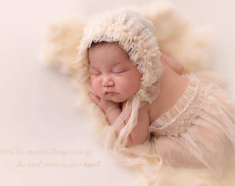 "Newborn ""Ashley"" bonnet, newborn bonnet, newborn props , beige bonnet, vintage props-natural props-newborn hat-newborn girl bonnet"