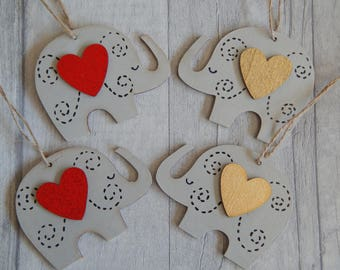 Wooden hanging grey Elephant/Red and Gold Heart Elephant/wall hanging/decoration