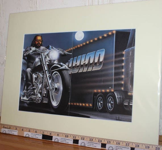 David Mann ''In The Wind & Truckin''' 16'' x 20'' Matted Easyriders Biker Motorcycle Art #9602ezrxmc