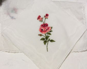 Vintage handkerchief, vintage hankie, vintage hanky, red handkerchief, Valentine's Day handkerchief, Rose handkerchief