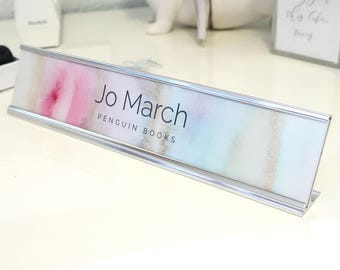 "Custom Watercolor Nameplate ""Jo"" - Personalized Desk Name Plate Sign Decor - Office Accessories - Colorful Office Decoration - Cute Cubicle"