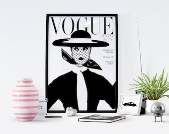 Printable Vogue Cover - Vintage Art - Vintage Posters - Vintage Prints - Vogue Magazine - The Vogue - Black And White Wall Art - Poster