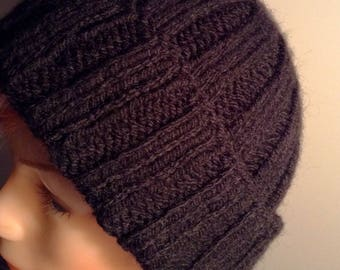 Hand knitted hat in black and blue or gray mittens to choose