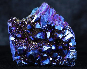 Rose-Blue Gold Aura Raindow Amethyst Crystal Cluster Titamium Bismuth 3.9 Ounces Healing Free Shipping