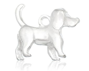 Charm dog Metal silvered without bail CHARMS 16X15mm
