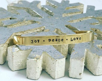 Joy • Peace • Love / Christmas gift / Friendship Gift / Religious jewelry