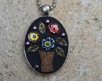 Mosaic Pendant ~ Floral Mosaic Jewelry ~ Mosaic Necklace ~ Floral Bouquet Mosaic ~ Mixed Media Mosaic Necklace ~ FREE SHIP