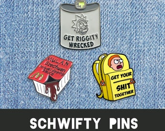 RICK & MORTY PINS set | Enamel Lapel Badge Brooche Fan Art plumbus nugget szechuan sauce portal gun riggity recked flask sanchez schwifty