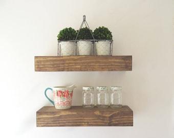 "8"" Depth Floating Shelf - Floating Shelves -Rustic Floating Shelf - Wide Floating Shelf - Chunky Shelves - Ledge Shelf - Wood Shelf"