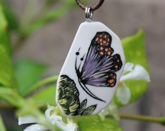 Butterfly Pattern Ceramic Necklace