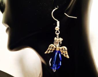 Royal Blue Angel Earrings