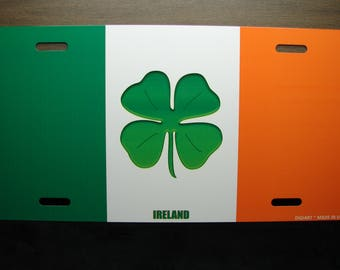 IRISH FLAG With SHAMROCK Custom metal novelty License for cars. Ireland
