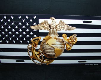 U.S. MARINES Metal License Plate For Cars And Trucks... USMC ... U.S. Marine Corps.. Semper Fidelis