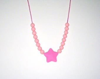 Pink silicone teething necklace breastfeeding Babywearing necklace-