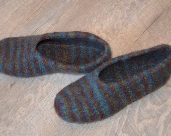 Gr. 38/39 (length 24 cm): felted slippers with LaTeX sole / felt slippers with LaTeX sole