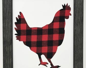 "11x14 1.75"" Rustic Black Frame with Chicken and Buffalo Plaid"