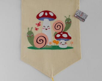 Embroidered flag buddies snails and mushrooms