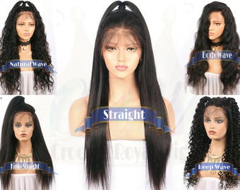 360 LACE WIG***Choose Pattern Choose Length**Brazilian Human Hair Wig 130% Density Natural Color 12-24 in 13x4 Adjustable Straps & Combs