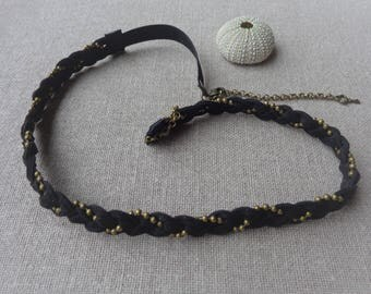 Adjustable chunky headband Black Suede and bronze chain - ninette barrettes