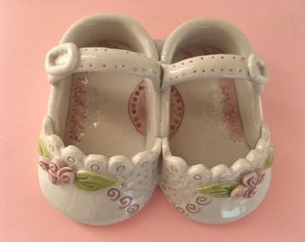 Ceramic baby shoes-Baby Baptism gift- Baby white shoes-100% Handmade
