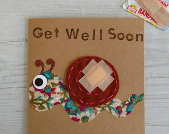 Get Well Soon - Feel Better - Under the Weather - Handmade Card - Snail Card - Animal Card