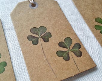 "Set of 4 tags with clovers real-collection: ""messages from the Woods"""