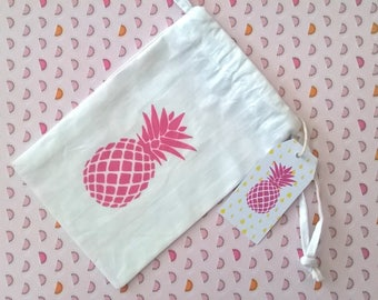 Small fabric bag pink pineapple with label
