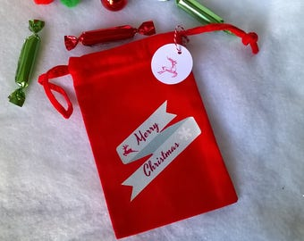 Mini Red Christmas fabric bag blue banner