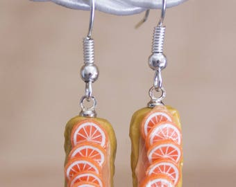 Orange lightning bolt earrings