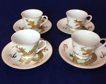 Antique Fleetwood China Tea Cups and Saucers with Hand-painted Dragons