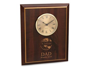 Best Dad Personalized Engraved Wall Clock - Cherry Wood Wall Clock - Customizable Wall Clock for Dad - Rectangular Wooden Wall Clock