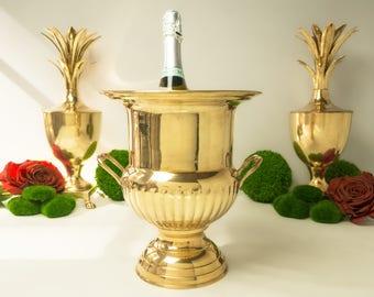 Vintage Brass Trophy Loving Cup Urn Champagne Bucket Ice Bucket Hollywood Regency