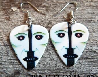 Custom Handmade Guitar Pick Earrings - PINK FLOYD