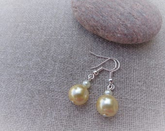 Yellow earrings bridal earrings Pearl Earrings wedding earrings earrings yellow dangle earrings