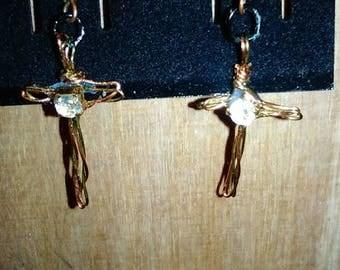 Copper crystal corss earrings