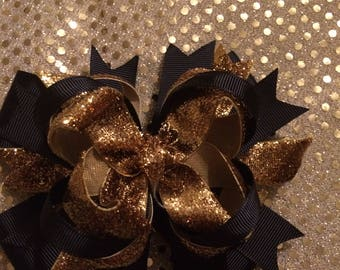 New year's hair bow, Gold and black hair bow, gold glitter hair bow,