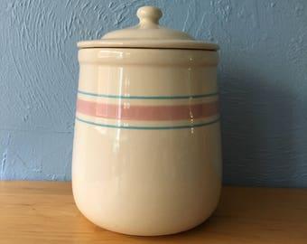 Vintage 1970s McCoy Pottery Cookie Jar Canister Pink Blue Stripe Ceramic