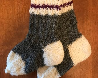 Infant/toddler knit wool work socks