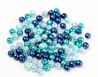 6 mm Glass Pearl Mix, Carribean Blue Mix (2075)