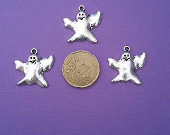 Set of 3 Halloween ghost silver metal charms