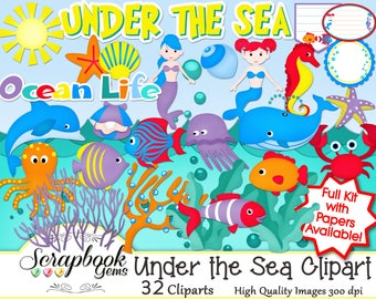 UNDER THE SEA Clipart, 32 png Clipart files Instant Download bubbles crab octupus waves water ocean sea dolphin oyster seahorse whale squid