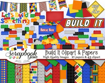 BUILD IT Clipart and Papers Kit, 43 png Clip arts, 21 jpeg Papers Instant Download building blocks bricks toys play time children kids boys