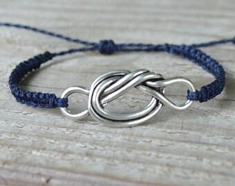 Weaving macramé and silver metal charm bracelet