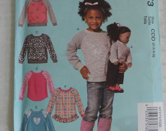 """McCall's M7273 Size 2-5 GIrl's Tops and Tops for 18"""" Dolls Sewing Pattern / Uncut FF"""