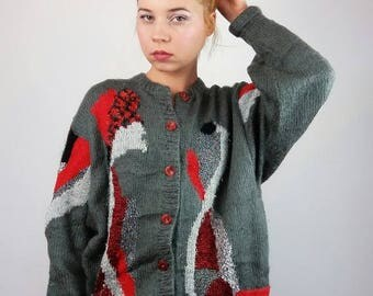 ON SALE Vintage knitted cardigan abstract motif