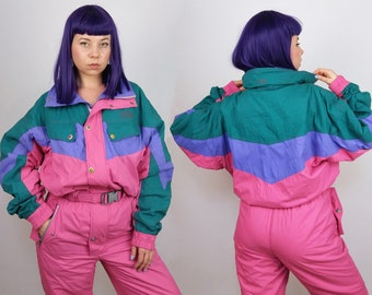 ELEVEN Vintage 80's Ski Jumpsuit / Snowsuit Winter Overall / Ski-suit Retro Colour-blocking Pink Green | Women's Size M