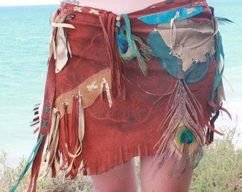 Wunderschöner Wickelrock aus recyceltem Leder, Blume des Lebens, Ibiza, Boho, Hippie, Fransen, Indianer