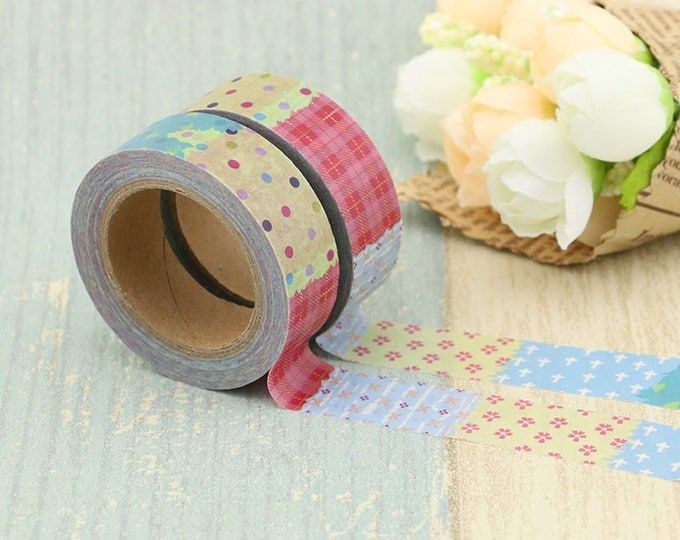 Flower Patchwork Washi Tape - Christmas Washi Tape - Flower Washi Tape - Paper Tape - Planner Washi Tape - Decorative Tape - Deco Paper Tape