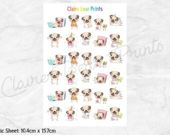 BUSY PUG Planner Stickers